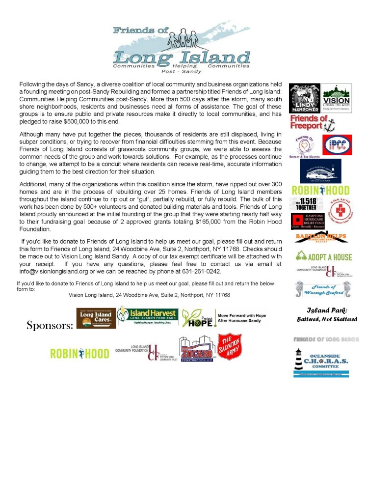 Friends of Long Island Updated Donation blurb